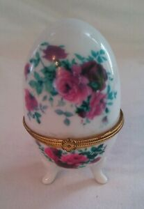 Porcelain Footed Egg Trinket Box with Hinged Lid with Small Floral Pattern