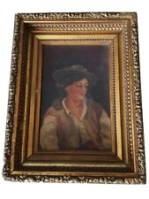 Antique Portrait of an American Woman Small Oil Painting on Canvas