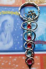 Spiritual Yoga Rare Gift Pendant with Rhinestone Gems Keyring Bag/Purse Charm