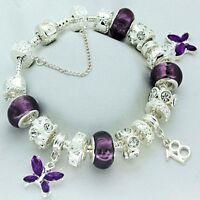 Ladies Purple Charm Bracelet 16th 18th 21st 30th 40th 50th BIRTHDAY Present Gift