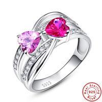 Heart Cut Women Ruby & Pink Topaz 100% 925 Sterling Silver Ring Size L½ N½ P½ R½