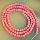 """3mm Faceted Coral gemstone Round Beads 15.5"""" Pick  Color"""