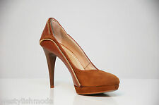 FERRE' scarpe decollete donna pelle marrone brown leather women shoes SIZE 36