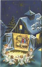 VINTAGE CHRISTMAS SHADES OF BLUE NATIVITY CHRIST CHILD ANGELS MUSIC CARD PRINT