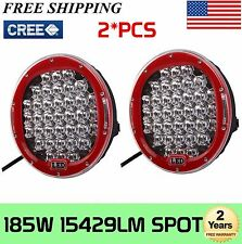2PCS 185W Round 9'' Inch LED Cree Driving SpotLight DRL Lamp ARB Replace OffRoad