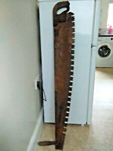 "Large 2 Handled Vintage Saw, Large tooth Cross Cut Logging Tool 45 "" Uncleaned"