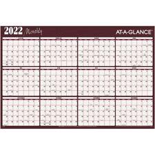 At A Glance Erasable Yearly Wall Calendar 48 X 32 Redblue Jan Dec A152 22