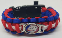 6 Nations France Rugby Badged Survival Bracelet by Tactical Edge.