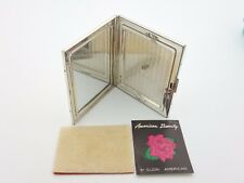 Elgin American Beauty Sterling Silver Floral Makeup Compact Mirror Powder Holder