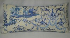 French Toile Blue and White Lumbar Accent Decorative Pillow Cover 10x20