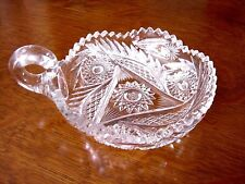 "CLEAR CUT HEAVY CRYSTAL 6"" CANDY DISH WITH GLASS HANDLE SAW TOOTH EDGE"