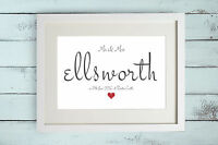 Personalised Name Print Gift Bespoke Unique Present Newly Weds Family Love