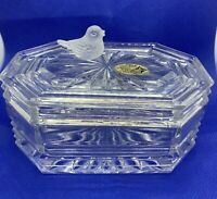 The European Collection 24% Lead Crystal Trinket Box W/Frosted Bird On Top