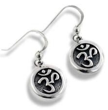 OM or Aum Hindu Yoga Symbol Sterling Silver Round Hook Earrings
