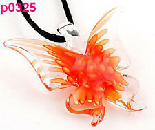 orange Lifelike Butterfly art glass beaded pendant necklace p325
