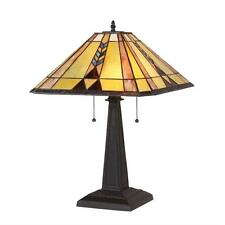 "Stained Glass Chloe Lighting Mission 2 Light Table Lamp 16"" Shade Handcrafted"
