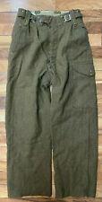Vtg Wool German Army Pants Field Cargo Drab Green Men's 30 X 28 Button Fly Guc