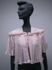Vtg Pink Vanity Fair Pleated Bed Jacket, Saks Wool Challis Lace Bed Jacket &Robe