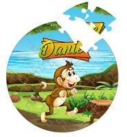 Personalised Round Wooden Jigsaw Puzzle Any Text Jungle Theme 24 Piece Gift 32