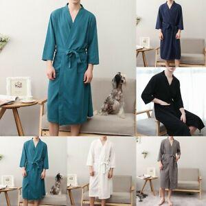 Women Mens Casual Bathrobe Couple Soft Sleepwear Dressing Gown Nightwear