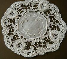 Antique doily Scottish needle lace heart w crown design & emb/red linen center