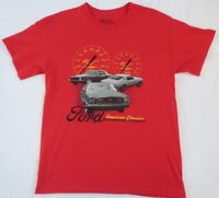 Ford Mustang Men's 100% Cotton S/S Crew Neck Red Graphic T Shirt - Large