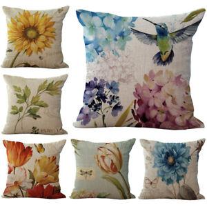 Stylish Sunflower Floral Pillow Case Linen Cotton Throw Cushion Cover Sofa Décor