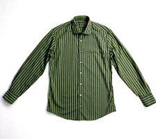 Ted Baker Endurance Mens Designer Green Brown Black Striped Shirt Size 15.5/ 39