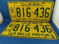 QUEBEC LICENSE PLATE SET PAIR 1964 816 436LA BELLE PROVINCE CANADA VINTAGE LOT
