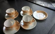 4x vintage hand painted japenese tea cups and saucers.