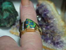 14K Men's Fire Opal Shield Cut Diamond Ring Custom Yellow Gold Size 7.5 Vintage