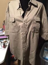 Mens Green Brown XL Button Down Shirt Pockets Premier International SS Comfort