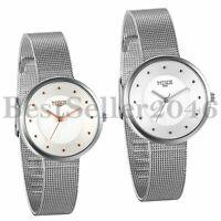 Fashion Ultra Thin Stainless Steel Mesh Band Quartz Analog Wrist Watches Womens