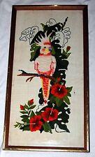 Vintage Cockatiel Embroidered Needlepoint Art White Bird Floral Cockatoo Crewel