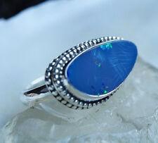 Silberring 53 Edelopal Boulder Opal Freiform Eirig Ring Silber Verspielt Kugeln