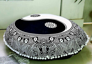 """Flower Yin Yang Cotton Handmade 32"""" Inch Large Round Floor Cushion Cover Indian"""