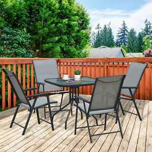 Outsunny Garden 5pcs Classic Outdoor Dining Set Steel Frames w/ 4 Chairs 1 Table