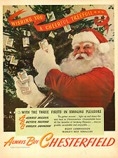 1945 vintage Christmas Ad Chesterfield Cigarettes gifts from Santa Clause 112814