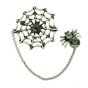Black Diamond Crystal Spider and Web Jewelry Brooch Pin - PRA702