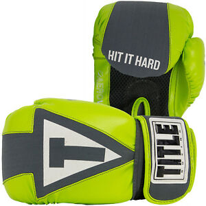 Title Gel Aerovent Washable Fitness Boxing Gloves - Lime Green/Gray