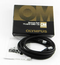 Original Olympus Om Electronic Flash Ttl Car Cord T 2m With Boxed / Guide
