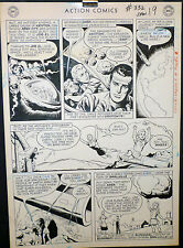 JIM MOONEY LARGE ART - KRYPTON EXPLODES + SUPER GIRL COMES TO EARTH - 2 PAGES !