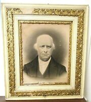 Antique 1850-1900 Victorian Wood & Gesso Picture Frame With Charcoal Portrait #2