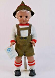 Schildkrot-Puppen Celluloid Boy Wearing Lederhosen Doll Ursel Turtle Mark #46