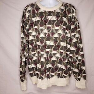 Jantzen Vintage Size 2XB Green Geometric Long Sleeve Sweater Big and Tall Mens