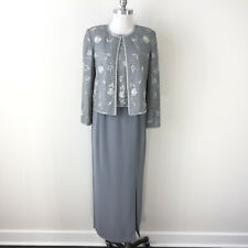 Adrianna Papell Occasions M 8 P Silver Gray mother Bride Formal Evening Suit