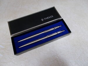 PARKER CLASSIC STAINLESS STEEL BALL POINT PEN  & PENCIL SET, UNITED STATES STEEL