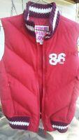 Victoria Secret Red Down Jacket Vest Size XSmall Pink line Retro Vintage Look