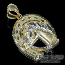 "Men's Women's Lucky Horse Shoe 10k Two Tone Real Gold Charm Pendant 1.12"" 3.1g"