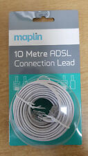 10m LONG RJ11 To RJ11 Cable Lead 4 Pin ADSL DSL Router Modem Phone 6p4c WHITE
